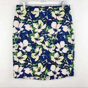 J. Crew Basketweave Pencil Skirt 6 Blue